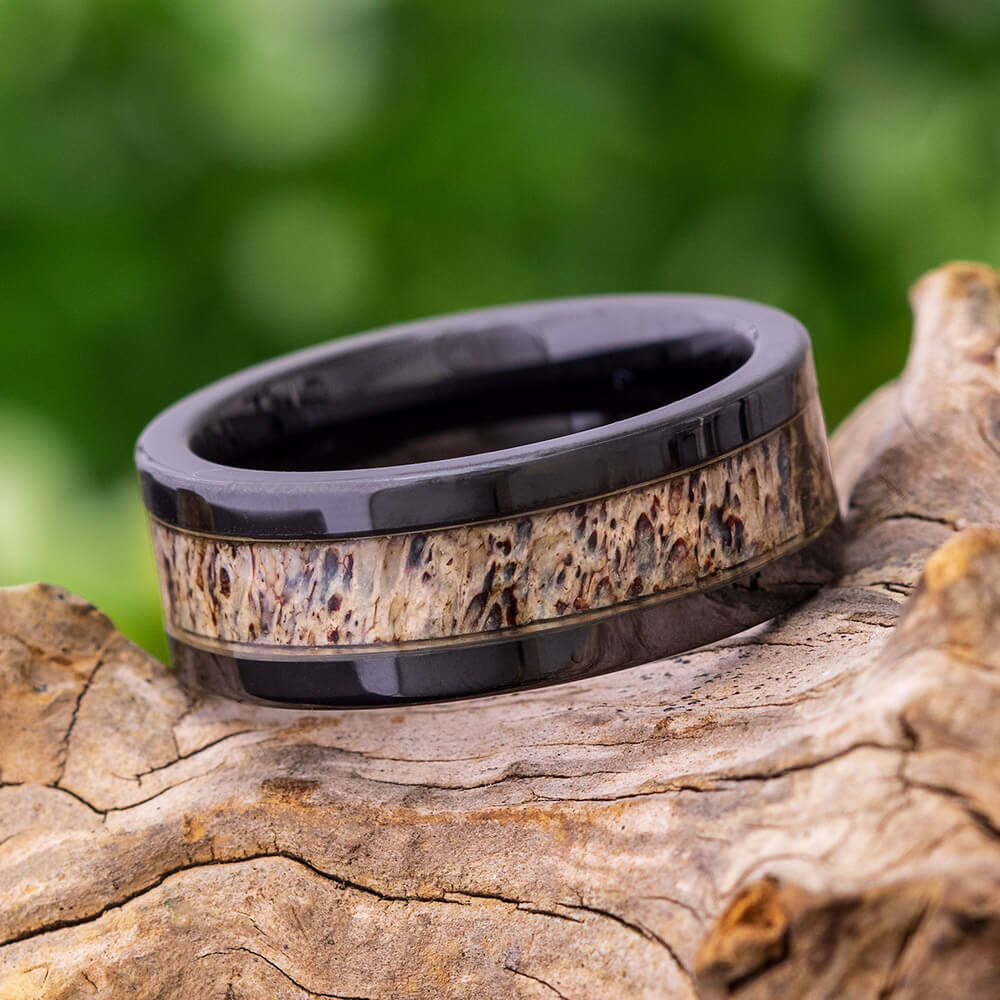 Antler Black Ceramic Men's Wedding Band, In Stock-SIG3017 - Jewelry by Johan