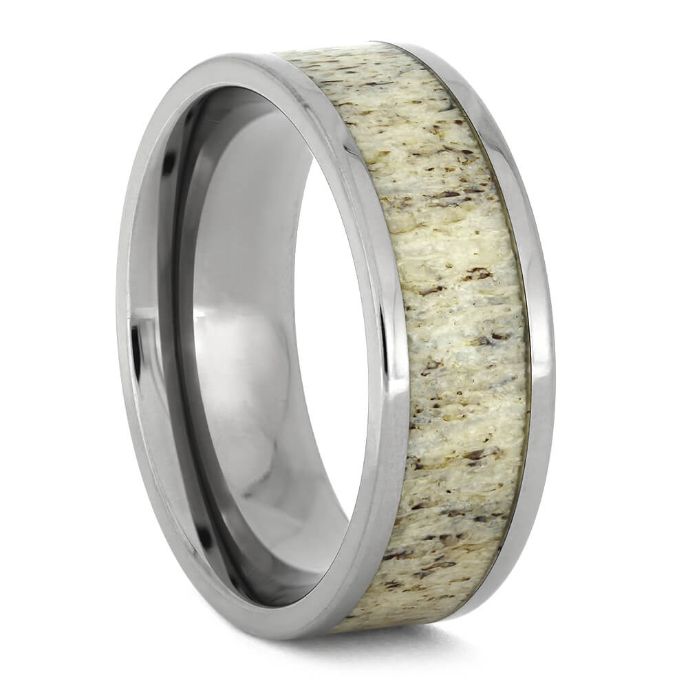 Simple Plus Size Men's Wedding Band With Deer Antler Inlay
