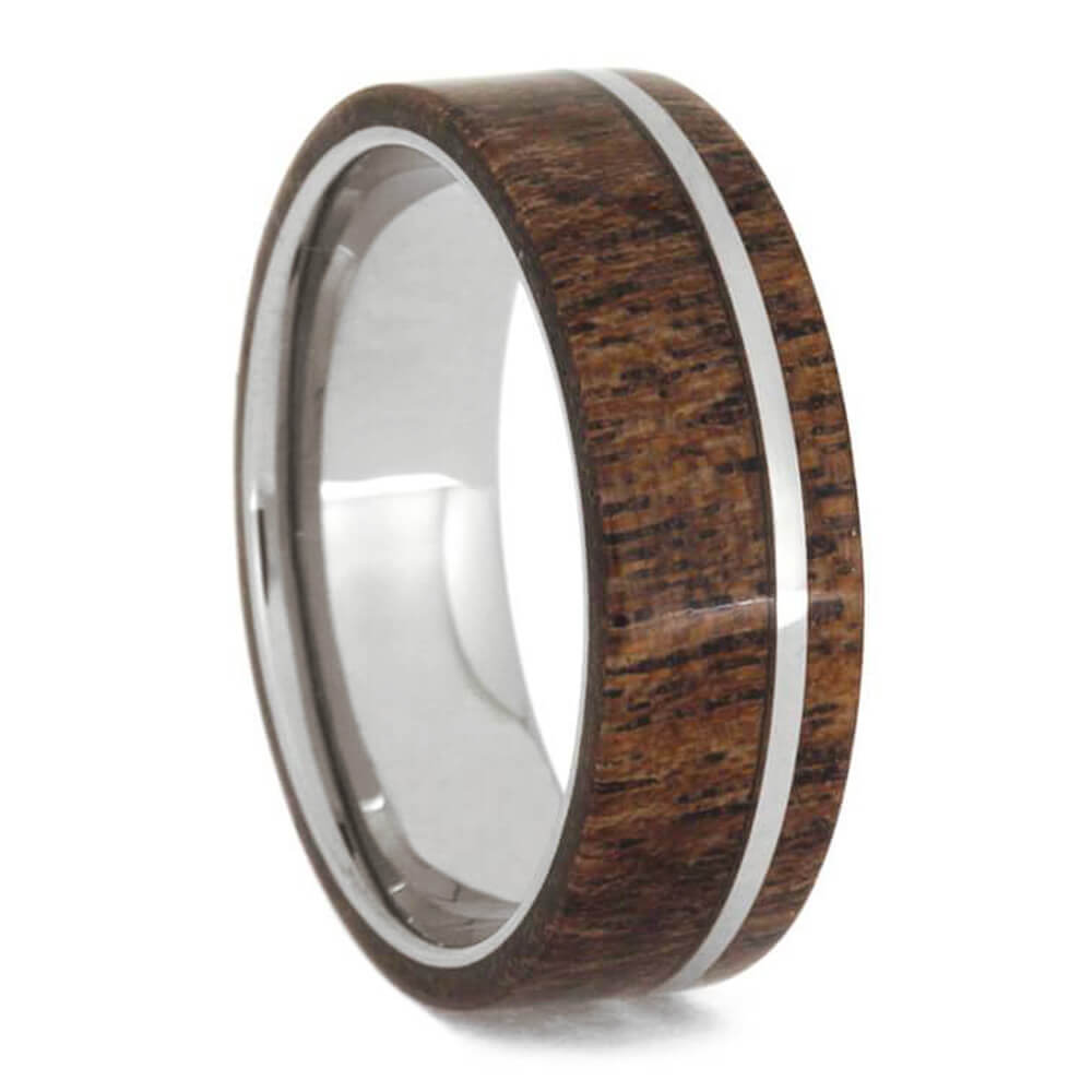 Mesquite Burl Wood In A Tungsten Wedding Band-1132 - Jewelry by Johan