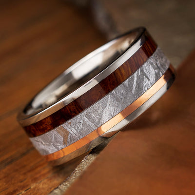 Meteorite Ironwood and Copper Ring in Titanium Band-1134 - Jewelry by Johan
