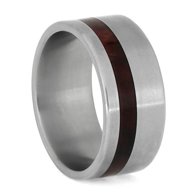Titanium Wedding Ring with Redwood Inlay Jewelry by Johan