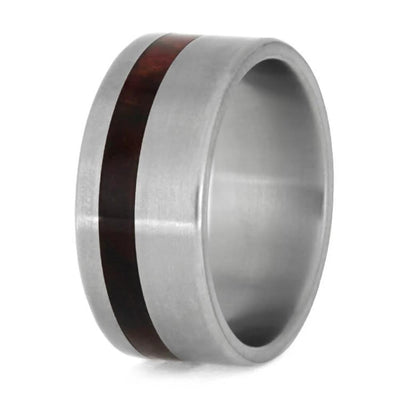 Titanium Wedding Ring With Redwood Inlay-1166
