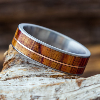 Tulipwood Wedding Band with Rose Gold Pinstripe