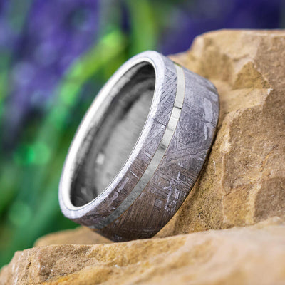 Meteorite Wedding Band with Tungsten