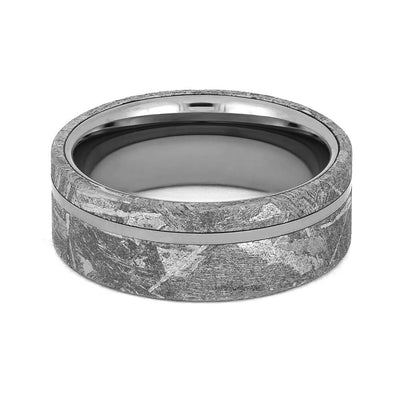 Tungsten Wedding Ring inlaid with Gibeon Meteorite-1206 - Jewelry by Johan