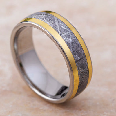 Titanium Wedding Band with Meteorite