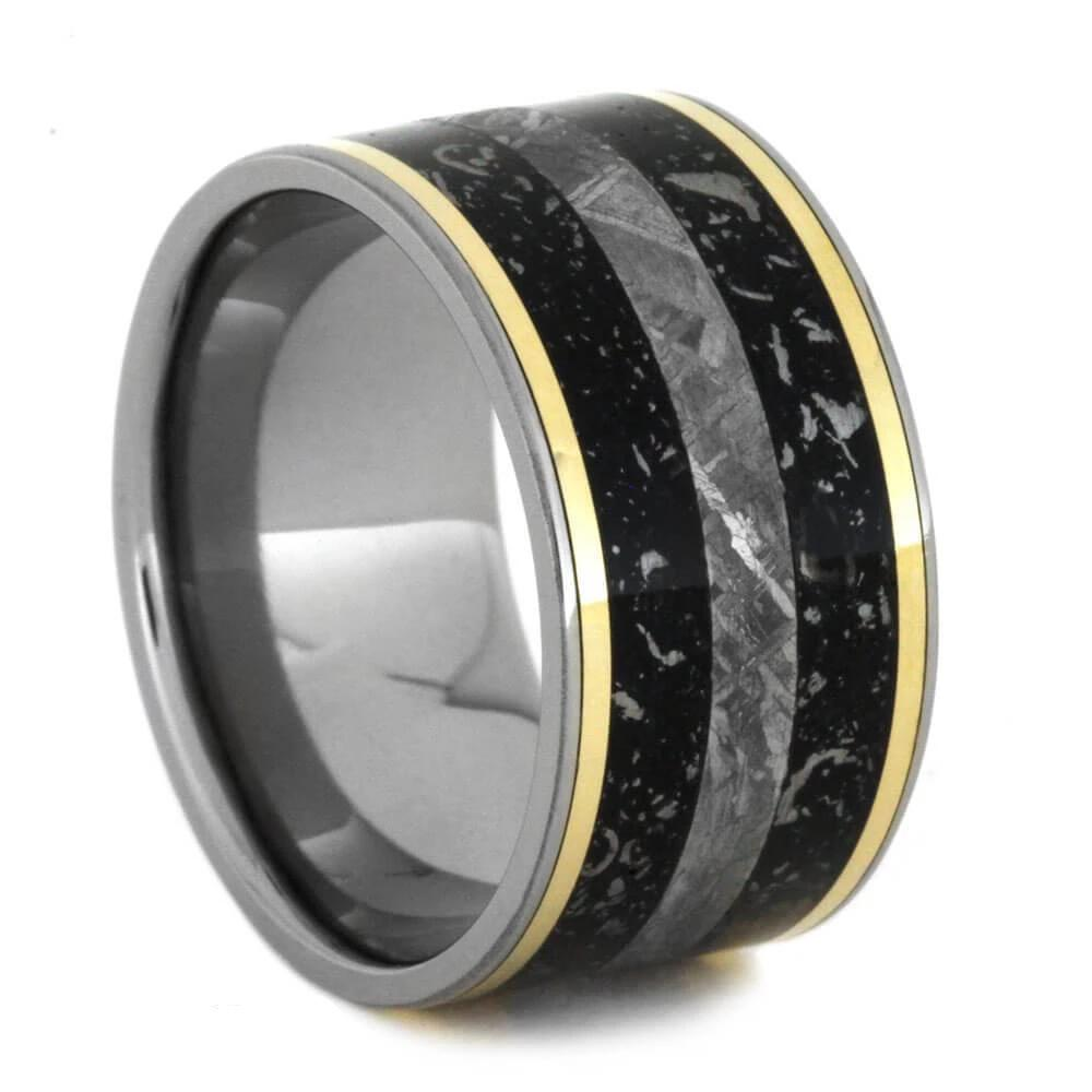 Black Stardust™ Ring with Meteorite and Yellow Gold Pinstripes-2862 - Jewelry by Johan