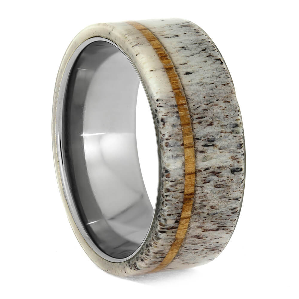 Antler Men's Wedding Ring With Oak Wood Pinstripe-1506 - Jewelry by Johan