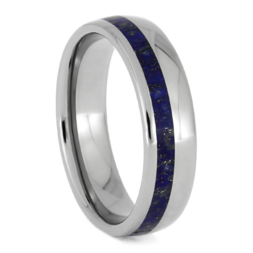 Lapis Lazuli Ring, Titanium Wedding Band With Round Profile-1555 - Jewelry by Johan