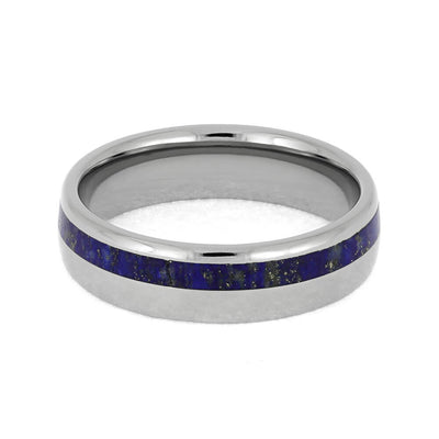 Lapis Lazuli Ring, Titanium Wedding Band With Round Profile-1555