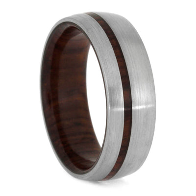 Cocobolo Wood Wedding Band, Brushed Titanium Ring-1576