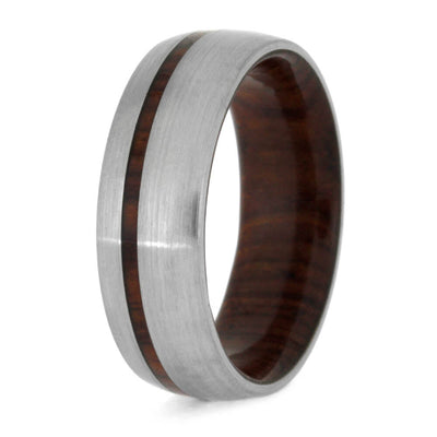 Cocobolo Wood Wedding Band, Brushed Titanium Ring-1576 - Jewelry by Johan