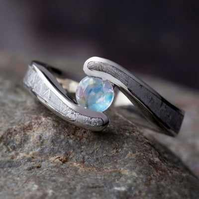 Moonstone Ring With Meteorite, White Gold Engagement Ring, Faux Tension-1588 - Jewelry by Johan