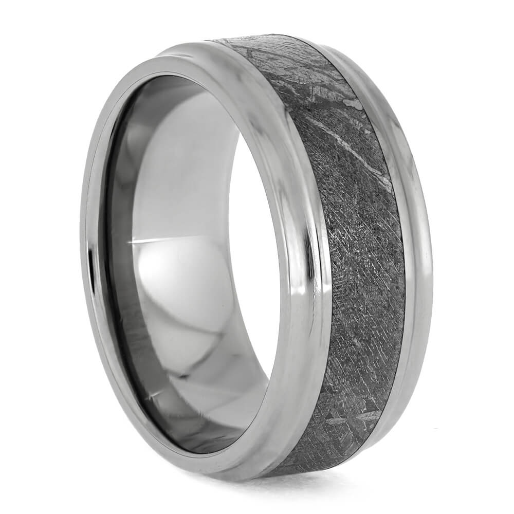 Meteorite Men's Wedding Band, Titanium Ring With Concave Edges-1602 - Jewelry by Johan