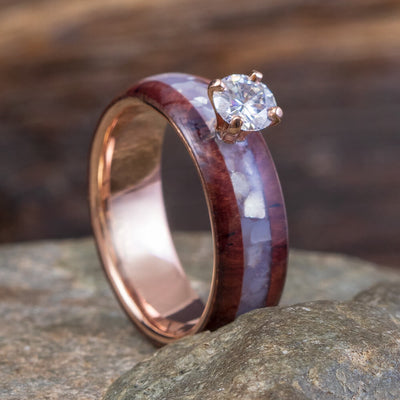 Rosewood And Pearl Engagement Ring