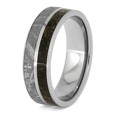 Titanium Ring With Gibeon Meteorite And Dinosaur Bone Separated By Titanium Pinstripe-1622 - Jewelry by Johan