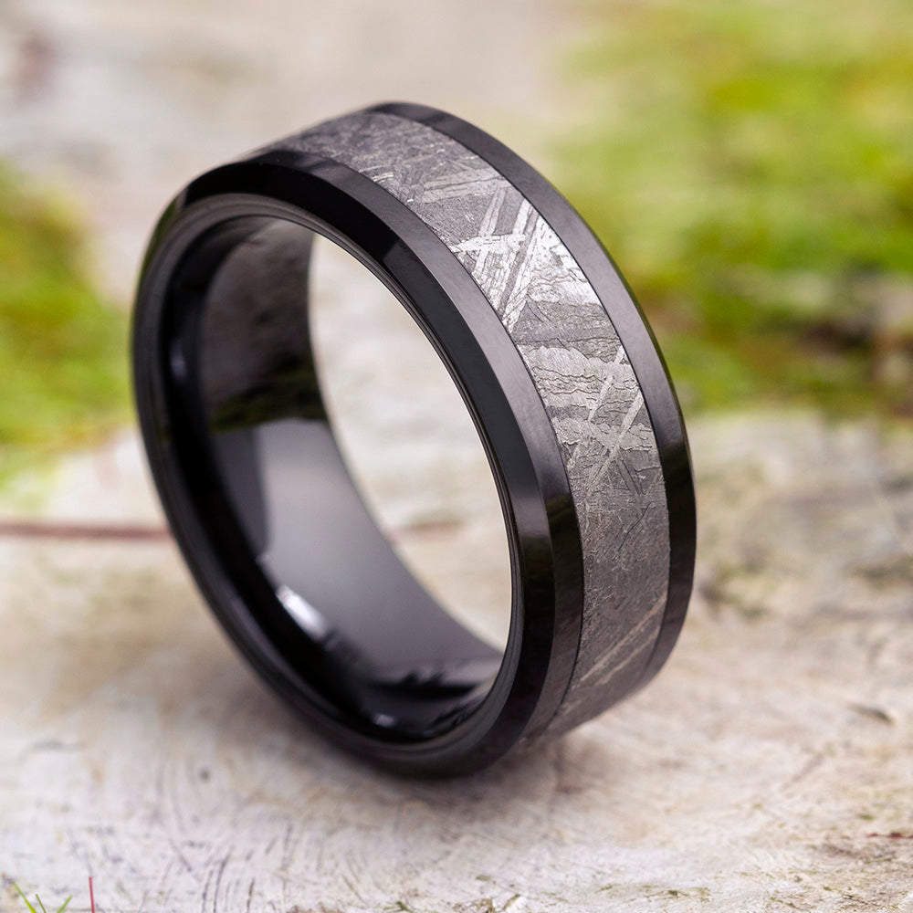Meteorite Black Ceramic Men's Wedding Band, In Stock-SIG3028 - Jewelry by Johan
