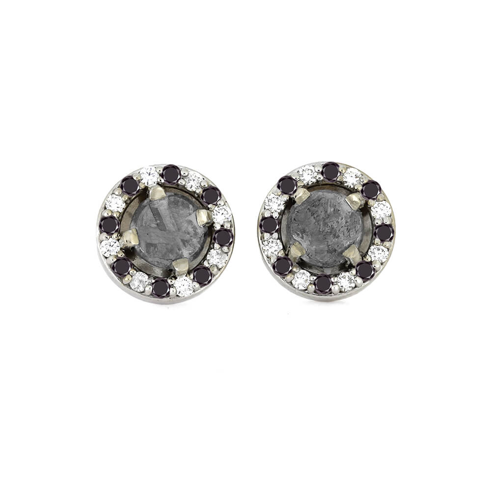 Meteorite Earrings With White And Black Diamonds On 14k White Gold-1671 - Jewelry by Johan