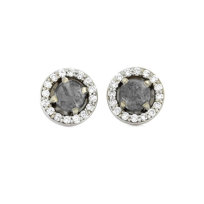 Meteorite Earrings With Stunning White Diamonds On 14k White Gold-1672 - Jewelry by Johan