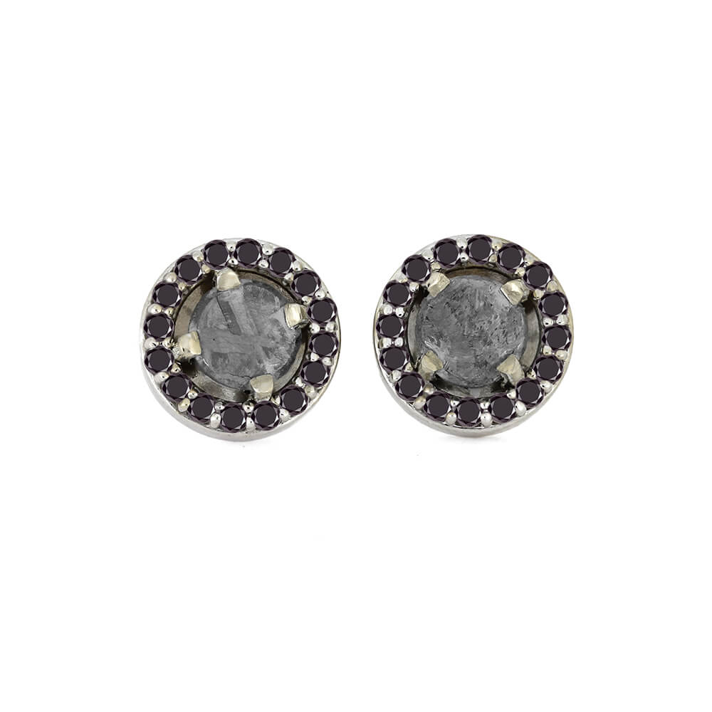 Meteorite Earrings With Gorgeous Black Diamonds On 14k White Gold-1673 - Jewelry by Johan