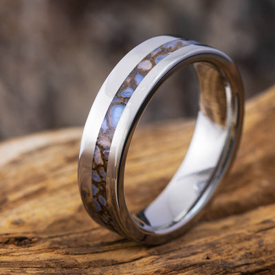 Unique Titanium Men's Wedding Band With Genuine Dinosaur Bone Inlay-1731 - Jewelry by Johan