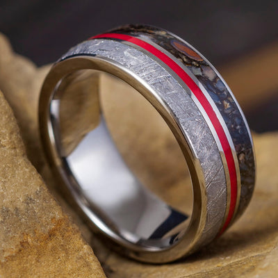 Titanium Band with Red Enamel