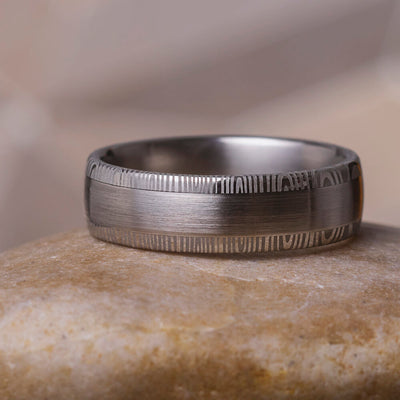 Damascus Wedding Band With Brushed Steel-1771 Jewelry by Johan