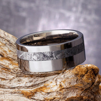 Meteorite and Titanium Wedding Band