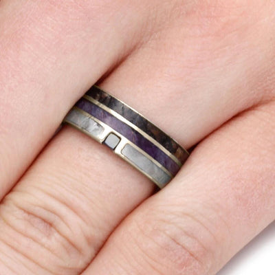 Black Diamond Ring for Man, Meteorite And Dinosaur Bone With Purple Box Elder-1820 - Jewelry by Johan