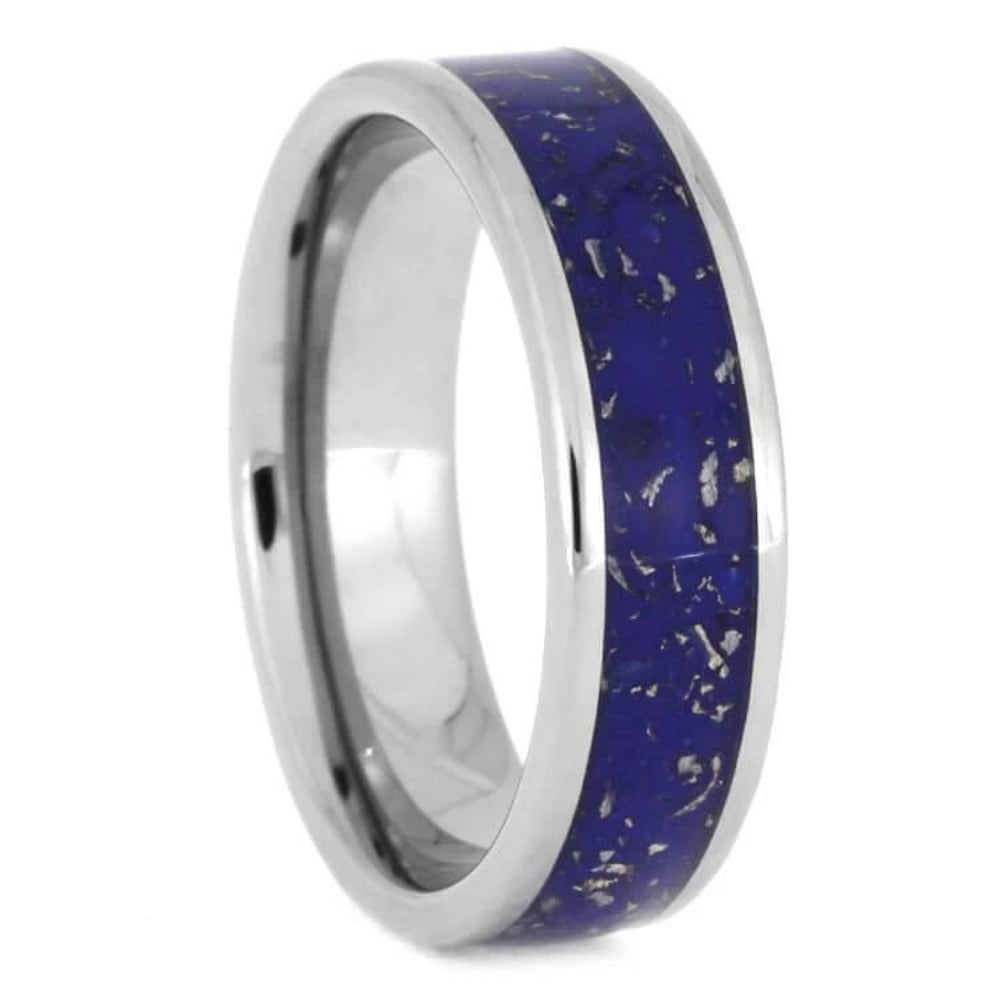 Blue Stardust and Titanium Wedding Band