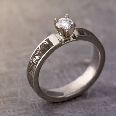 Mimetic Meteorite Ring with a Moissanite in 14k White Gold Prong-1831 - Jewelry by Johan