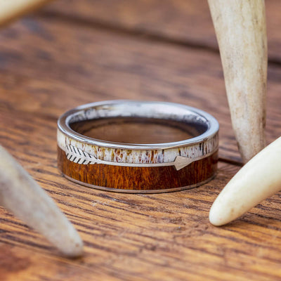 Sterling Silver Arrow Ring with Antler and Ironwood Burl-1842 - Jewelry by Johan