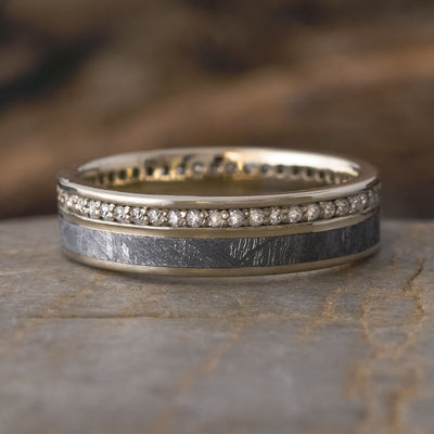 14k White Gold Meteorite and Diamond Eternity Band