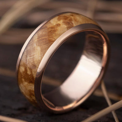 Rose Gold Ring with Black Ash Burl Wood Ring Inlay