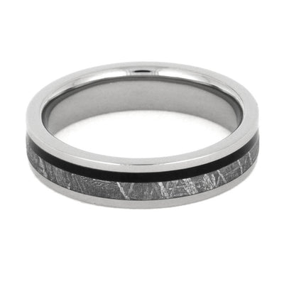 Titanium And Meteorite Ring With African Black Wood-1985 - Jewelry by Johan
