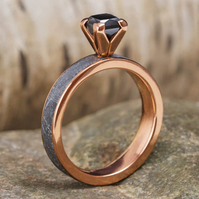 Princess Cut Black Diamond Ring With Meteorite in 14k Rose Gold-2015 - Jewelry by Johan