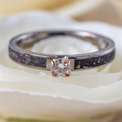 Moissanite Engagement Ring With Mimetic Meteorite