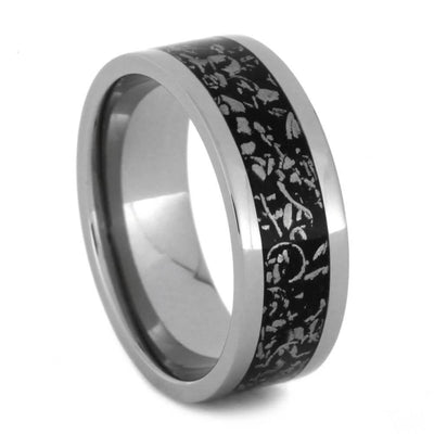 Wide Edged Titanium Wedding Band with Black Stardust