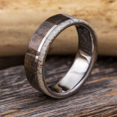 Wood And Antler Men's Wedding Band In Tungsten-2093 - Jewelry by Johan