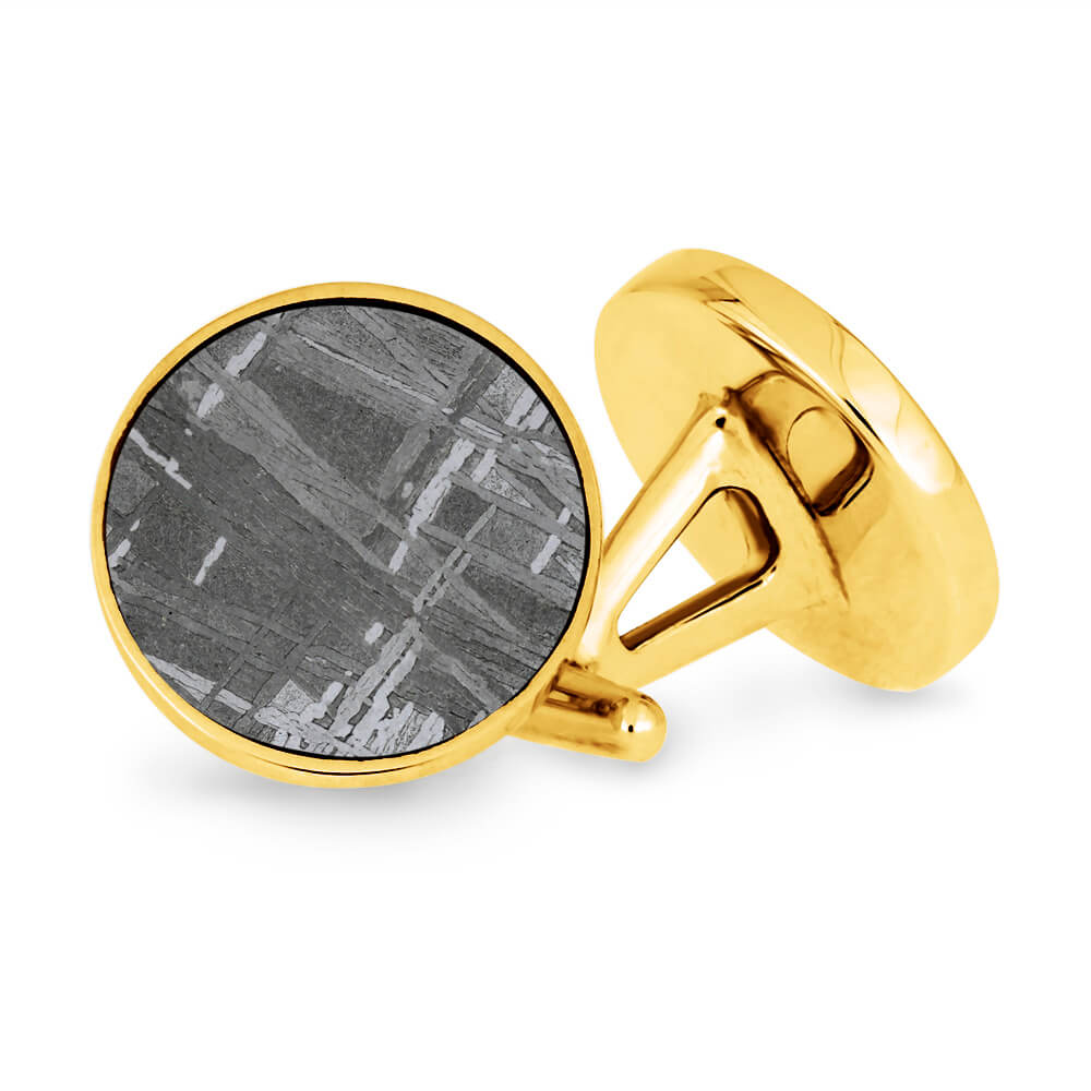 Bronze Cuff Links With Meteorite Inlays-2149