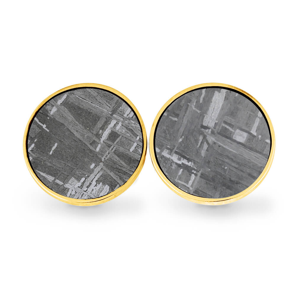 Round Bronze Cuff Links with Authentic Meteorite-SIG3059 - Jewelry by Johan
