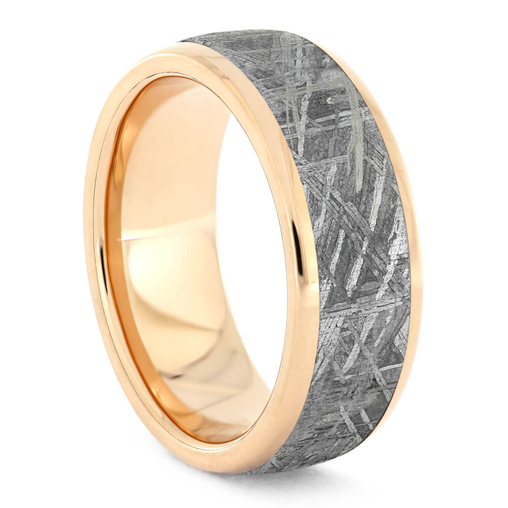 Gibeon Meteorite Wedding Band With Rose Gold