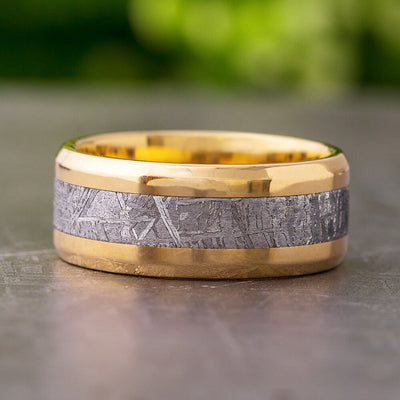 Beveled Meteorite Wedding Band