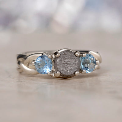 Meteorite Engagement Ring With Aquamarine Accents, Three Stone Ring-2273 - Jewelry by Johan