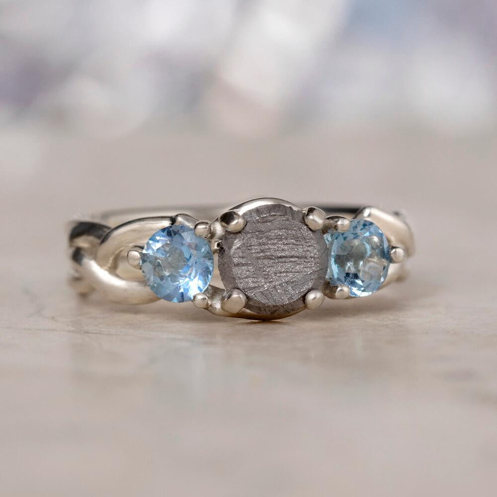 Aquamarine & Meteorite Engagement Ring, In Stock-SIG3049 - Jewelry by Johan