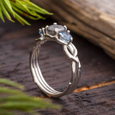 Meteorite Stone Engagement Ring
