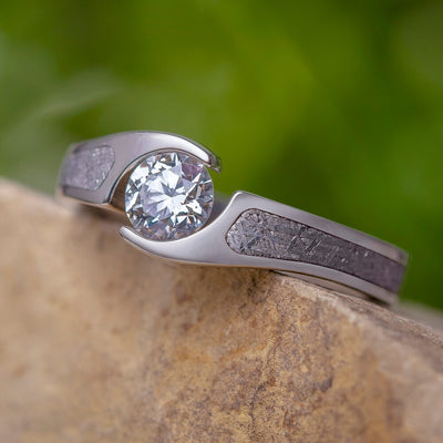 Tension Set Diamond Engagement Ring, Meteorite Wedding Ring-2275 - Jewelry by Johan