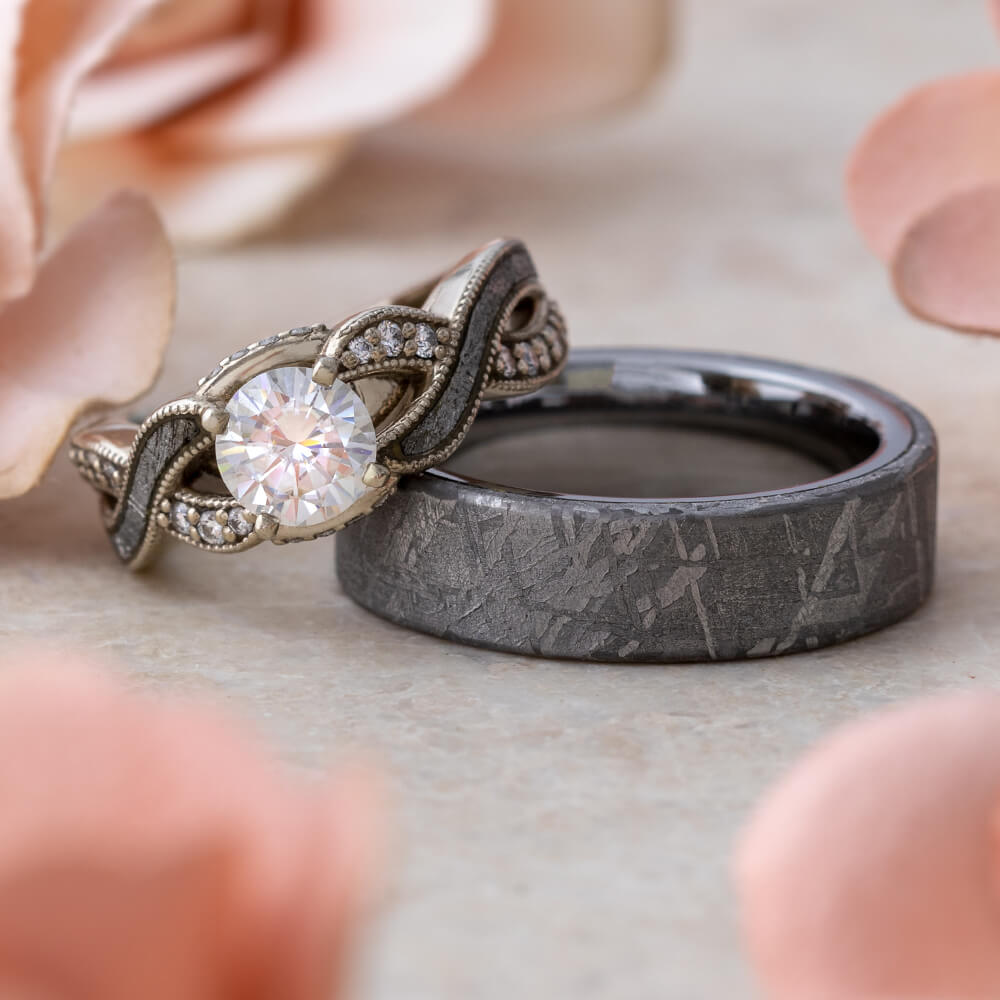 Difference Between Engagement And Wedding Ring.Meteorite Wedding Ring Set Moissanite Engagement Ring And Men S Band 2301