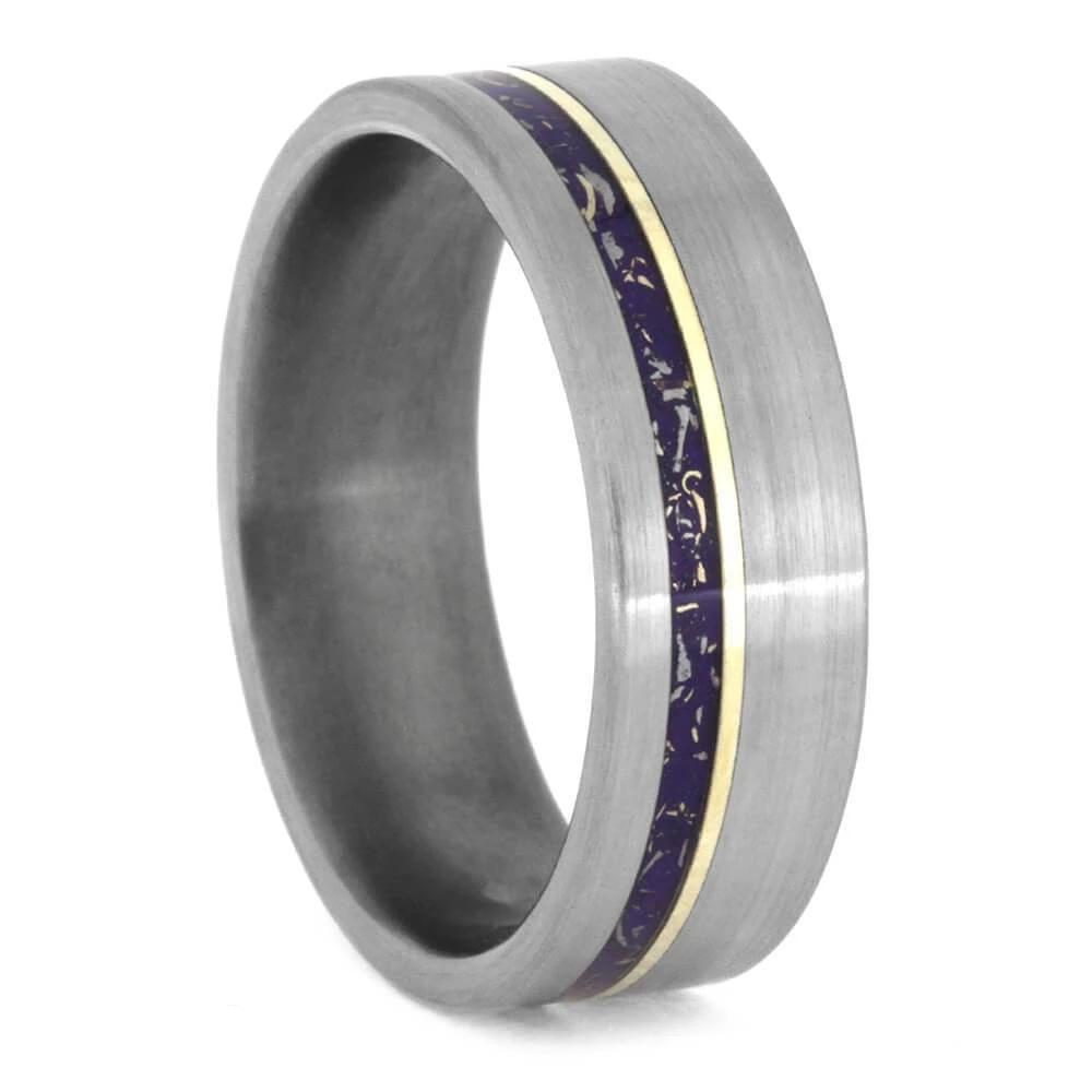 Purple Stardust™ Wedding Band With Yellow Gold Pinstripe in Titanium-2393 - Jewelry by Johan