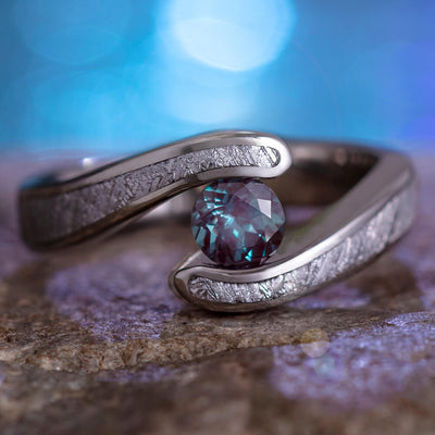 Gibeon Meteorite Engagement Ring, Alexandrite In Tension Setting-2400 - Jewelry by Johan